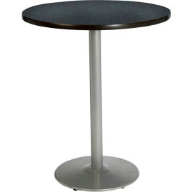 "KFI 36"" Round Pedestal Table With Graphite Nebula Top, Round Silver Base, Bistro... by"