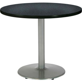 "KFI 36"" Round Pedestal Table With Graphite Nebula Top, Round Silver Base by"