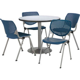 "KFI Dining Table & Chair Set - Round - 36""W x 29""H - Navy Plastic Chairs with Gray Nebula Table"