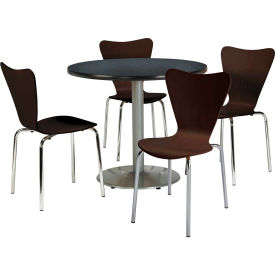 """KFI Table & 4 Chair Set Stacking Wood Chairs, Espresso Finish & 36""""W x 29""""H... by"""