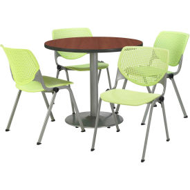 """KFI Dining Table & Chair Set - Round - 36""""W x 29""""H - Lime Plastic Chairs with Mahogany Table"""