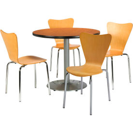 """KFI Table & 4 Chair Set Stacking Wood Chairs, Natural Finish & 36""""W x 29""""H Round... by"""