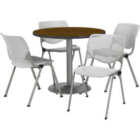 """KFI Dining Table & Chair Set - Round - 36""""W x 29""""H - Light Gray Plastic Chairs with Walnutl Table"""