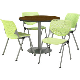 """KFI Dining Table & Chair Set - Round - 36""""W x 29""""H - Lime Plastic Chairs with Walnut Table"""