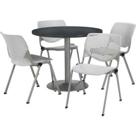 """KFI Dining Table & Chair Set - Round - 42""""W x 29""""H - Light Gray Plastic Chairs with Graphite Table"""
