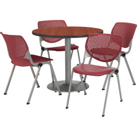 """KFI Dining Table & Chair Set - Round - 42""""W x 29""""H - Burgundy Plastic Chair with Mahogany Table"""