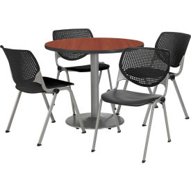"""KFI Dining Table & Chair Set - Round - 42""""W x 29""""H - Black Plastic Chair with Mahogany Table"""