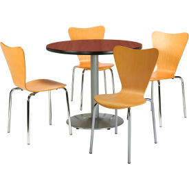 """KFI Table & 4 Chair Set Stacking Wood Chairs, Natural Finish & 42""""W x 29""""H Round... by"""
