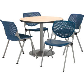 "KFI Dining Table & Chair Set - Round - 42""W x 29""H - Navy Plastic Chairs with Natural Table"