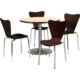"""KFI Table & 4 Chair Set Stacking Wood Chairs, Espresso Finish & 42""""W x 29""""H... by"""