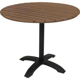 "KFI Eveleen 32"" Round Outdoor Pedestal Table - Mocha"