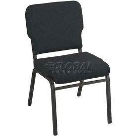 Kfi Heavy Duty Wing Back Stacking Chair, Azure Fabric/Black Steel Frame