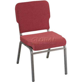 Kfi Heavy Duty Wing Back Stacking Chair, Cabernet Fabric/Silver Vein Frame