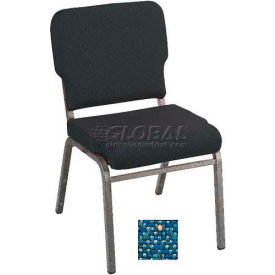 Kfi Heavy Duty Wing Back Stacking Chair, Azure Fabric/Silver Vein Frame