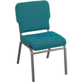 Kfi Heavy Duty Wing Back Stacking Chair, Aloe Fabric/Silver Vein Frame