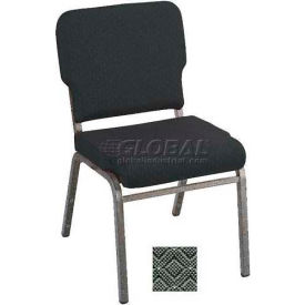Kfi Heavy Duty Wing Back Stacking Chair, Pewter Fabric/Silver Vein Frame