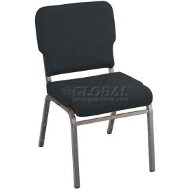 Kfi Heavy Duty Wing Back Stacking Chair, Designer Black Fabric/Silver Vein Frame