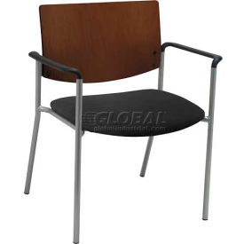 Big & Tall Guest/Reception Chair - Arms with Chocolate Wood Back, Charcoal Fabric Seat