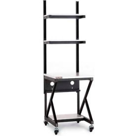 "Kendall Howard™ 24"" Performance 100 Series LAN Station with Half Bottom Shelf, Folkstone Gray"