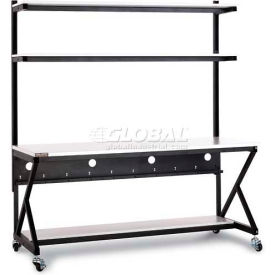 "Kendall Howard™ 72"" Performance 100 Series LAN Station with Half Bottom Shelf, Folkstone Gray"