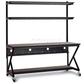 "Kendall Howard™ 72"" Performance 100 Series LAN Station with Half Bottom Shelf, African Mahogany"