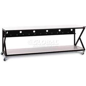 "Kendall Howard™ 96"" Performance 300 Series LAN Station with Full Bottom Shelf, Folkstone Gray"