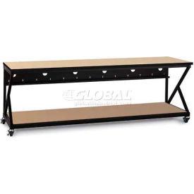 "Kendall Howard™ 96"" Performance 300 Series LAN Station with Full Bottom Shelf, Hard Rock Maple"