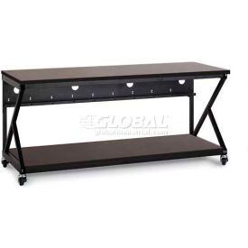 "Kendall Howard™ 72"" Performance 300 Series LAN Station with Full Bottom Shelf, African Mahogany"