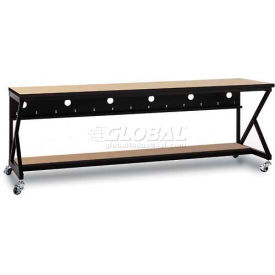"Kendall Howard™ 96"" Performance 400 Series LAN Station with Half Bottom Shelf, Hard Rock Maple"