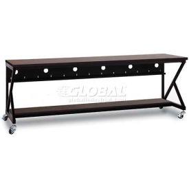 "Kendall Howard™ 96"" Performance 400 Series LAN Station with Half Bottom Shelf, African Mahogany"