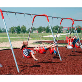 4-Place Bipod Swingset 8' High In Galvanized W/Red Yokes And Seats, For Ages 5 To 12