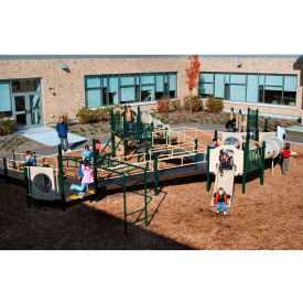 Playsystem W/Wheelchair Ramp Access In Green/Brown/Tan Combination, For Ages 2-12