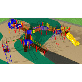 Playsystem W/Rock Wall In Orange/Purple/Green/Yellow/Blue/Red Combination, For Ages 5 To 12