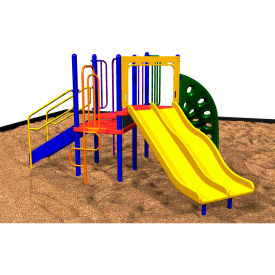Playsystem W/Dual Slides In Orange/Purple/Green/Yellow/Blue/Red Combination, For Ages 5 To 12