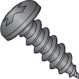 #4 x 3/4 Phillips Pan Self Tapping Screw Type AB Fully Threaded Black Oxide Package of 10000 by