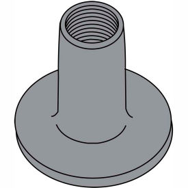 6-32X1/4  WELD NUT WITH .562 ROUND BASE STEEL Plain, Pkg of 1000