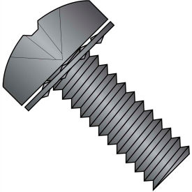 6-32X1/2  Phillips Pan Internal Sems Machine Screw Fully Threaded Black  Zinc Bake, Pkg of 10000
