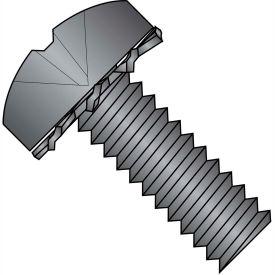 8-32X5/16  Phillips Pan External Sems Machine Screw Fully Threaded Black Zinc Bake, Pkg of 10000