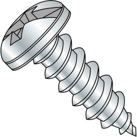 #8 x 3/8 Combination Pan Head Self Tapping Screw Type AB Fully Threaded Zinc Bake Package of 10000 by