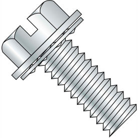 8-32X1/2  Slotted Indent Hexwasher Internal Sems Machine Screw Full Thread Zinc Bake, Pkg of 7000