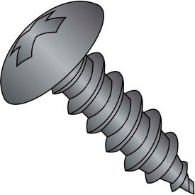 #8 x 5/8 Phillips Full Contour Truss Self Tapping Screw Type A Full Thread Black Oxide Package of 9000 by