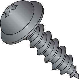 #8 x 3/4 Phillips Round Washer Self Tapping Screw Type A Fully Threaded Black Package of 6000 by