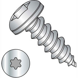 #8 x 1 Six Lobe Pan Self Tapping Screw Type A Fully Threaded 18-8 Stainless Steel Package of 4000 by
