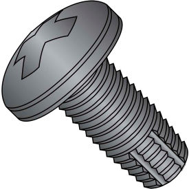 10-24X1/2  Phillips Pan Thread Cutting Screw Type F Fully Threaded Black Zinc Bake, Pkg of 10000