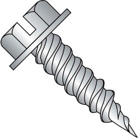 """#10 x 1 Slot Indented Hex Washer 1/4"""" Across Flats FT Self Piercing Screw18-8 SS - Pkg of 1500"""
