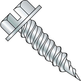 """#10 x 3 Slotted Ind. Hex Washer 1/4"""" Across Flats FT Self Piercing Screw Needle Pt Zinc - 1500 Pk"""