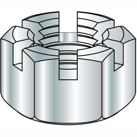 1 1/8-12  Slotted Hex Nut Zinc, Pkg of 50