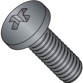 1/4-20X1 1/4  Phillips Pan Machine Screw Full Thrd 18 8 Stainless Steel Black Oxide, Pkg of 1000