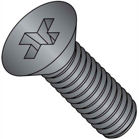 1/4-20X1 3/4  Phillips Flat Machine Screw Full Thrd 18 8 Stainless Steel Black Oxide, Pkg of 500