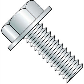 5/16-18X1 1/4  Unslotted Indented Hex Washer Head Machine Screw Fully Threaded Zinc, Pkg of 1000